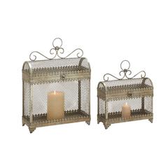 Set Of 2 Enticing And Unique Styled Metal Candle Lantern