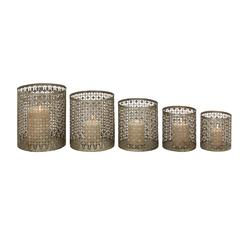 Benzara Set Of 5 Alluring & Unique Styled Metal Candle Holder