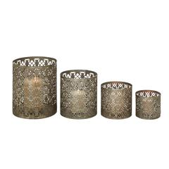 Benzara Set Of 4 Sparkling & Unique Styled Metal Candle Holder