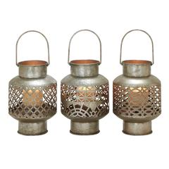 Benzara Unique Styled Metal Glass Lantern 3 Assorted