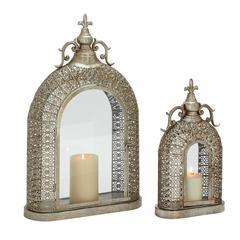 Benzara Set Of 2 Exceptionally Designed Metal Glass Lanterns