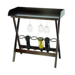 "Benzara Wine Cabinet - Wood Metal Wine Tray Table 34""H, 32""W"
