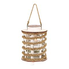 Benzara Classic Wooden Glass Rope Extension Lantern With Rustic Finish