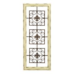 Benzara Wooden And Metal Wall Décor With Carveing And White Finish