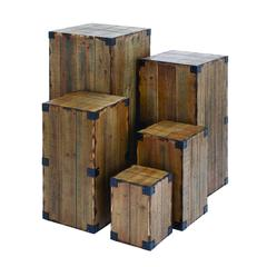 Benzara Pedestal With Cuboid Blocks And Defined Edges (Set Of 5)