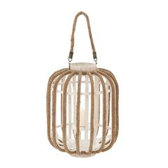 Benzara Attractive Plump Styled Wood Glass Lantern