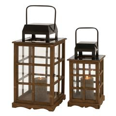 Unique And Mesmerizing Wood Metal Glass Lantern Set Of 2