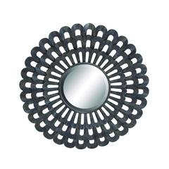 "Dark Black Finished Classy 35"" D Metal Wall Round Mirror"