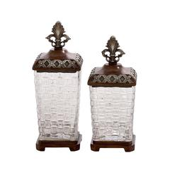 Benzara Antique Themed Polystone Glass Jar Set Of 2