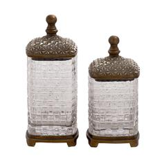 Benzara Abstract Polystone Glass Jar Set Of 2