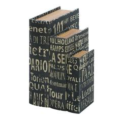Benzara Faux Book Boxes With European Landmarks