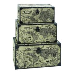 Benzara Travel Steamer Trunk Set With Ancient World Map