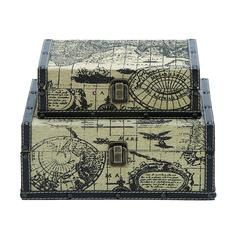 Square Shape Traveling Boxes With Ancient World Map