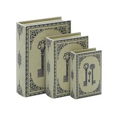 "Library Storage Books - Wood Fabric Box Set/3 13"", 11"", 8""H"