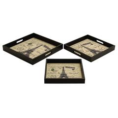 "Wood Leather Trays Set/3 16"", 14"", 12""W Unique Home Accents"