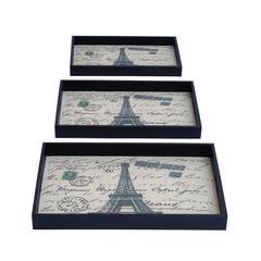 Benzara Paris Themed Tray Set With Fabric