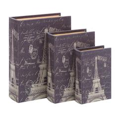 Benzara Book Box Set With Paris Eiffel Tower Theme