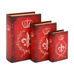 Benzara Unique Wood Book Box With A Bold Red Finish - Set Of 3