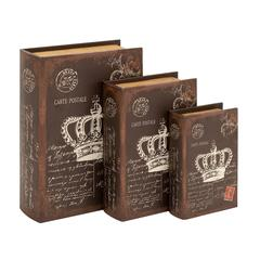 Book Box With An Antiqued Brown Finish - Set Of 3