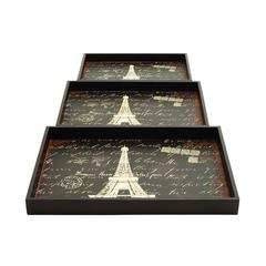 Benzara Wood Trays With A Persian Touch - Set Of 3
