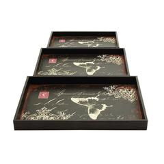 Benzara Trays Decorated With Bold Butterfly Motif - Set Of 3