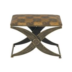 Benzara Durable Metal Fabric Foot Stool