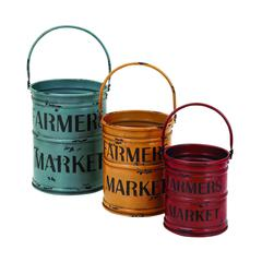 Basket With A Rich Bold Finish Of Colors - Set Of 3