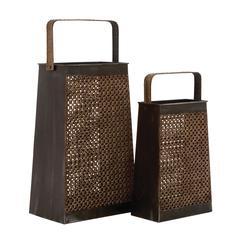 Benzara Net Styled Classy Metal Vase 2 Assorted