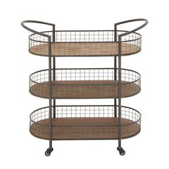 Multipurpose And Stylish Metal Wood 3 Tier Cart