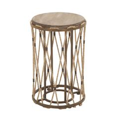Benzara Unique And Classy Wood Metal Rope Side Table