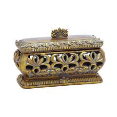 Benzara Solid Polystone Pierced Box With Gold Polish