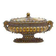 Container In Gold Finish With Solid Design