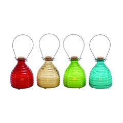 Benzara Bright Multicolored Glass Led Candle 4 Assorted
