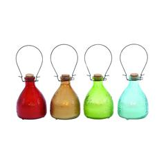 Benzara Customary Styled Bright Glass Led Candle 4 Assorted