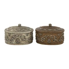 Benzara Vintage Themed 2 Assorted Carved Box