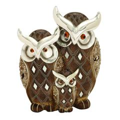 "Benzara Table Top Polystone Owl Family 8""H, 7""W Statue"