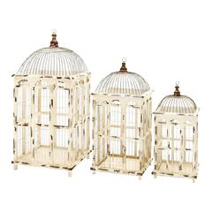 Metal Bird Cage Bright White Finish - Set Of 3