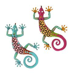 Benzara Gecko Assorted With Bright Colors - Set Of 2