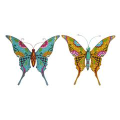Butterfly Assorted With Bright Colors - Set Of 2