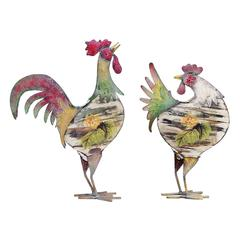 Rooster In Bright Color Pattern And Long Lasting - Set Of 2