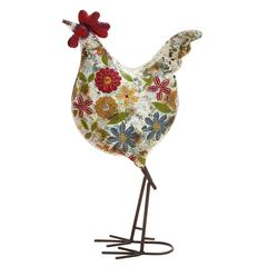 Contemporary Styled Floral Metal Rooster