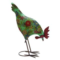 Benzara Classy Styled Multicolored Metal Rooster