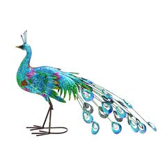 Metal Crafted Vibrant Shade Peacock Décor