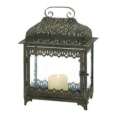 Benzara Contemporary Styled Attractive Metal Glass Lantern