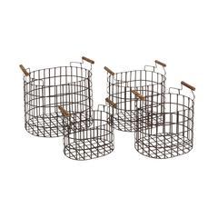 Benzara The Simple Set Of 4 Metal Wood Basket