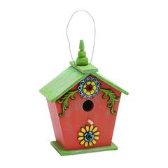 Benzara Wooden Birdhouse In Pink And Green With Natural Texture