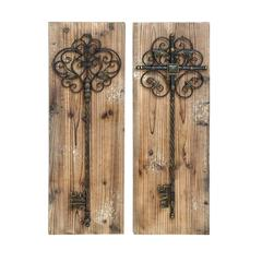 Enchanting Key Door Wall Plaque In Aged Wood