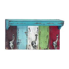 Benzara Wood Metal Wall Hook With Assortment Of Vibrant Colors