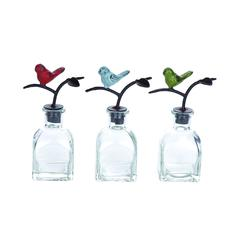Mesmerizing Glass Metal Stopper Bottle 3 Assorted