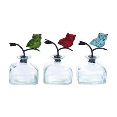 Benzara Classy Styled Glass Metal Stopper Bottle 3 Assorted